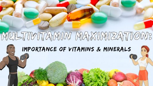 A graphic portraying various vitamin and mineral supplements and vegetables.